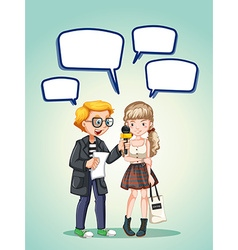 Report interviewing a girl teenage vector image