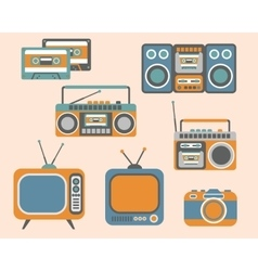 Retro Media Electronics Set vector