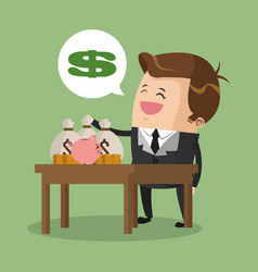 Rich businessman with money vector