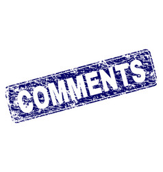 Scratched comments framed rounded rectangle stamp vector