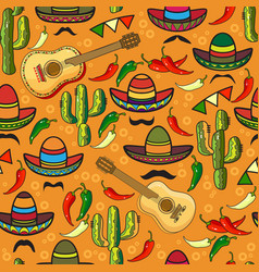 seamless pattern sombrero guitar pepper vector image