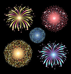 Set fireworks vector