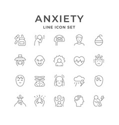 Set line icons anxiety vector