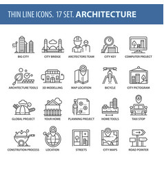set of thin line flat icons architecture vector image