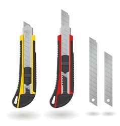 Set of two Stationery knives and blades isolated vector image