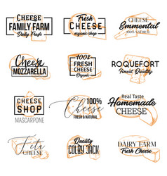 sketch banners with sliced cheese vector image
