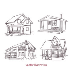 sketch set of wooden house vector image