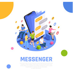social media isometric composition vector image