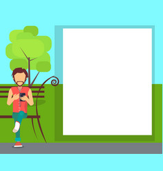 Spending time in park conceptual banner with man vector