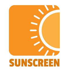 sunscreen logo flat style vector image