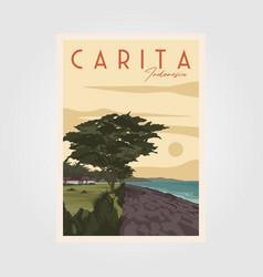 Sunset at carita beach vintage travel poster vector