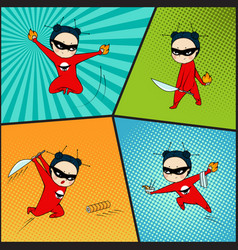 Super hero set chef of japanese cuisine vector