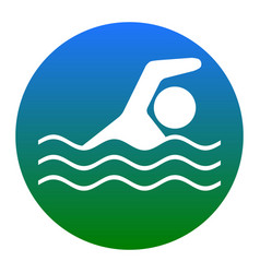 Swimming water sport sign white icon in vector