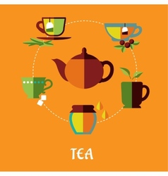 Tea flat concept vector
