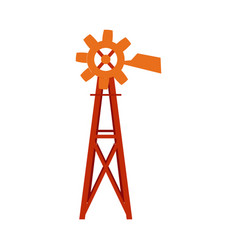Traditional farm windmill turbine technology vector