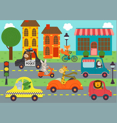 Transport with animals in town vector