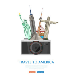Travel to america poster with famous attractions vector
