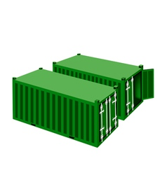 Two Green Cargo Containers on White Background vector
