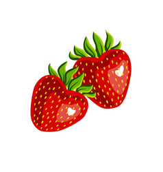 two strawberries isolated on white background vector image