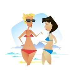 Two women on the background of the sea vector image