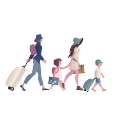 Two young mothers traveling in family with vector