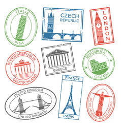 Vintage travel stamps for postcards with europe vector
