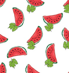 Water Melon Hand drawn Seamless Pattern vector image