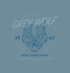 wild wolf logo grunge label print angry animal vector image