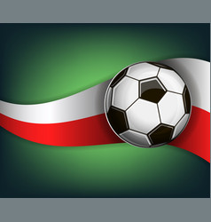 with soccer ball and flag of poland vector image