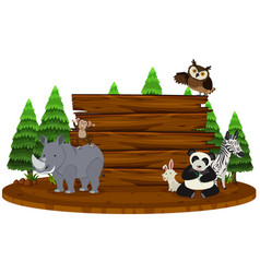 wooden sign with wild animals in background vector image