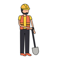 worker construction with shovel vector image