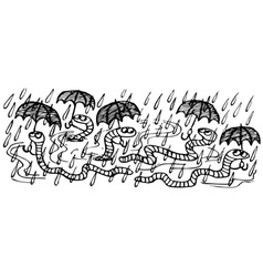 Worms in the rain with umbrellas vector