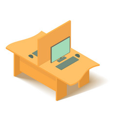 yellow computer table icon isometric 3d style vector image