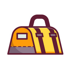 Yellow sport bag icon vector