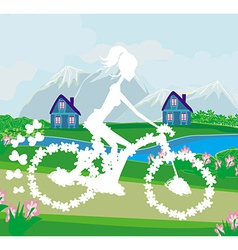 Abstract card with girl riding a bike vector image vector image