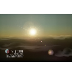 retro landscape with clouds and sun vector image vector image