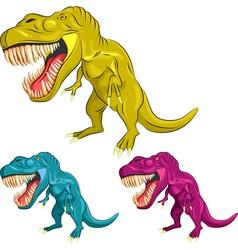 set of colorful dinosaur tyrannosaurs vector image