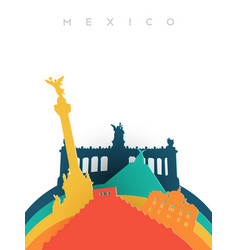travel mexico 3d paper cut world landmarks vector image vector image