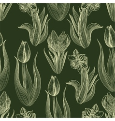 Hand-written seamless pattern with spring flowers vector image vector image