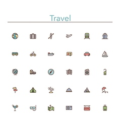 Travel Colored Line Icons vector image vector image