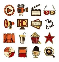Cinema vintage icons set color vector image