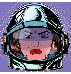 Emoticon rage emoji face woman astronaut retro vector