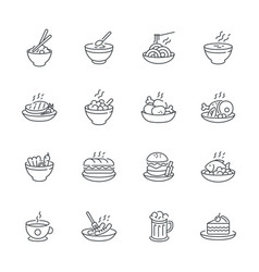 food dishes icon set isolated on white background vector image