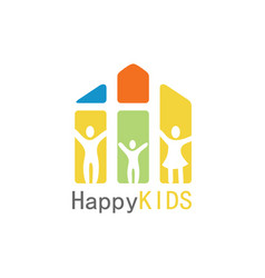 happy kids logo vector image