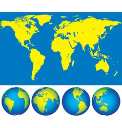 Map and globes vector image vector image
