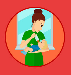 mother holding and feeding baby with milk bottle vector image vector image