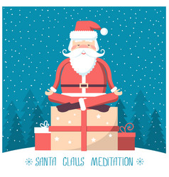 Santa meditation and sitting on big present box vector