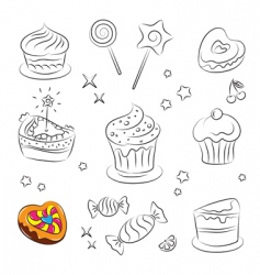 sweets and cakes icons vector image