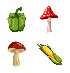 vegetables icon set cartoon style vector image