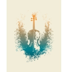 violin with floral patterns vector image
